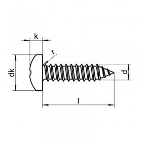 2,2 x 16 inox screw pan head (8 units)