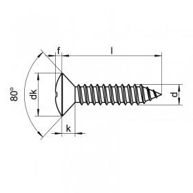Screw 3,5 x 19 blued steel oval head (8 units)